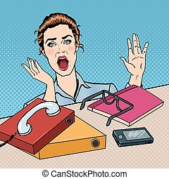 Stressed Business Woman on the Office Work Place with Phone and Papers. Pop Art. Vector illustration