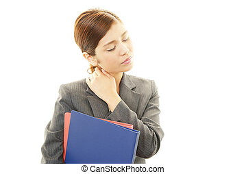 Stressed business woman - Business woman with shoulder pain....