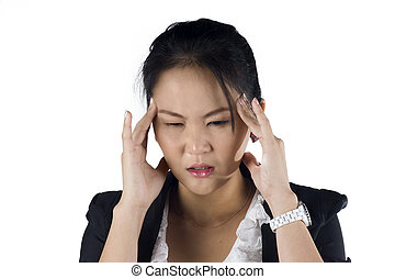 Stressed business woman with a headache isolate on white background, Model is a Asian woman.