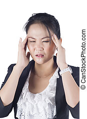 Stressed business woman with a headache isolate on white background, Model is Asian woman.