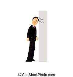 Stressed businessman character banging his head against wall, business and financial failure, economic crisis vector Illustration