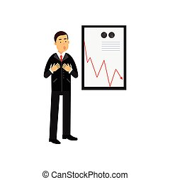 Stressed businessman character standing against a bad results chart, bad sales, business and financial failure, economic crisis vector Illustration