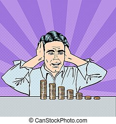 Stressed Businessman Looking at his Last Money. Pop Art. Vector illustration