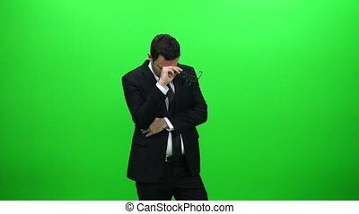 Stressed Businessman on Green Screen