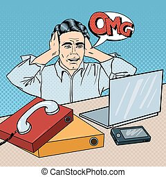 Stressed Businessman on the Office Work Place with Phone and Laptop. Pop Art. Vector illustration