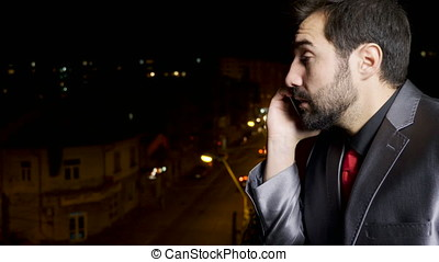 Stressed businessman on the phone