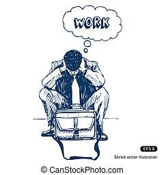 Stressed businessman sitting step