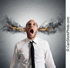 Stressed businessman with smoke and flame in head