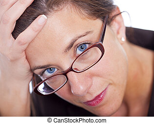 Stressed businesswoman - Stressed attractive brunette...