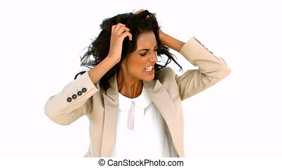 Stressed businesswoman tossing her hair in slow motion