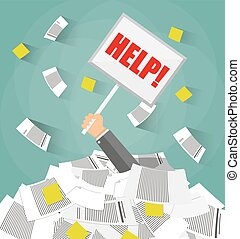 businessman in pile of office papers - Stressed cartoon...