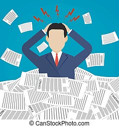 Stressed cartoon businessman in pile of papers
