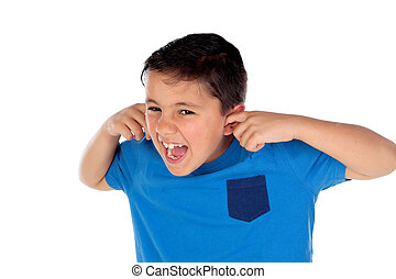 Stressed child covering his ears