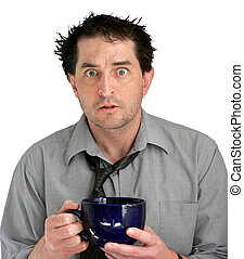 Stressed Coffee Guy - Tired, freaked-out business man with a...