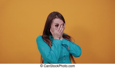 Stressed covered face with hands, crying feels desperate. Fear, shame, domestic violence. Sad, depression, grief, frustration. Human expressions, feelings reaction attitud Attractive woman