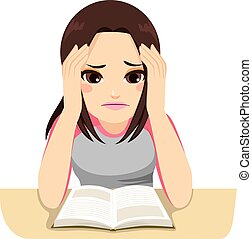 Stressed Girl Studying - Cute stressed teenage girl focused...