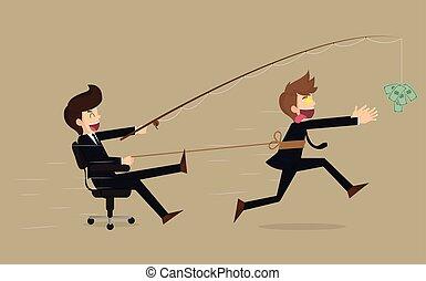 Stressed greedy businessman running after money, vector...