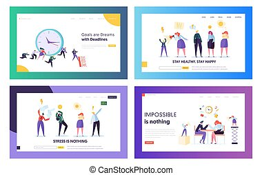 Stressed Hardworking Business People in Office Website Landing Page Templates Set. Employees Frustrated about Deadline, Working Hard in Lack of Time Web Page. Cartoon Flat Vector Illustration, Banner
