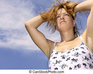 stressed hot day - woman stressed or hot