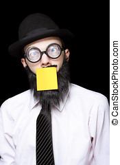 Stressed Mad Scientist With Sticky Note On Face - Mad...