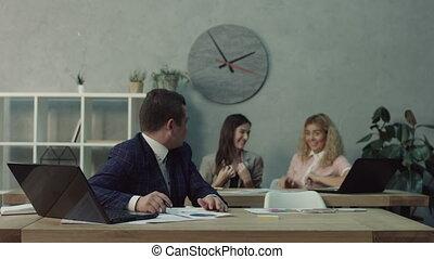 Stressed male office worker has nervous breakdown -...
