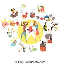 Stressed Man And Woman Surrounded With Different Stress Factors External And Lifestyle Related. Stressful Situations And Causes Attacking People In Every Day Life Vector Illustration.