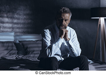 Stressed man in depression