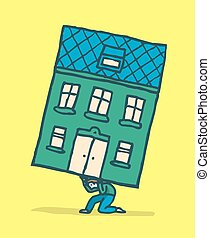 Stressed man moving his house on his back