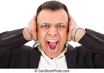 stressed man screaming holding his head