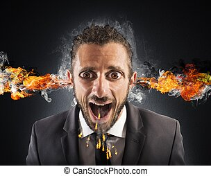 Stressed man spits fire