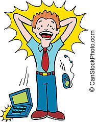 Stressed Man - Cartoon of a man dropping his laptop and...