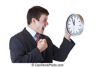 Stressed manager under time pressure clenches his fist and shouts.Isolated on white background