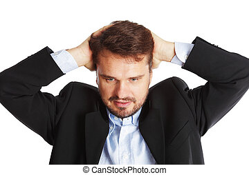 Stressed Mature business man, isolated over white background