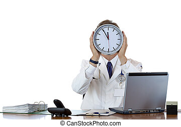 Stressed medical holds clock in front of face because of ...