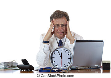 Stressed medical with clock in front has headache out of time pressure