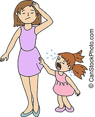 stressed mom and little girl crying, vector illustration