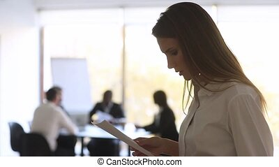 Stressed nervous businesswoman designer speaker preparing speech feeling afraid