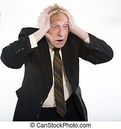Stressed old business man