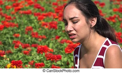 Stressed Or Angry Female Hispanic Teen