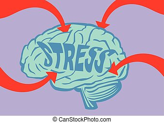 Stressed Out Brain Vector Illustration - Big bold red arrows...