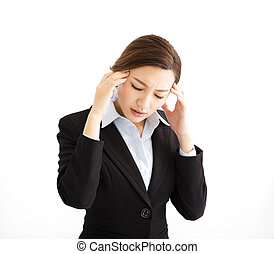 Stressed out businesswoman with headache