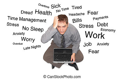 Stressed Out Laptop Man - A business man is sitting on a...