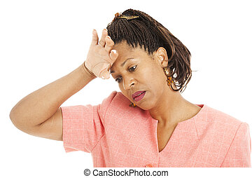 Stressed Out - Beautiful african-american woman stressed...