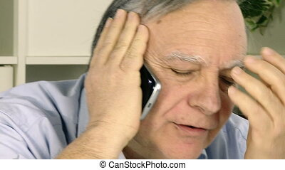 senior business man on the phone - Stressed out senior...