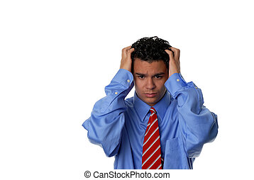 Stressed out - Young business man with a stressed look in...