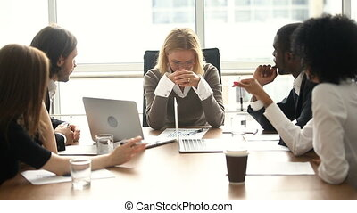 Stressed overwhelmed female boss feels angry about...