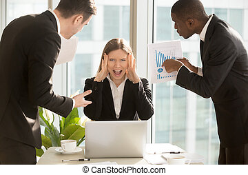 Stressed overworked businesswoman screaming, multitasking angry