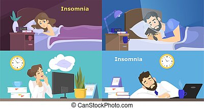 Stressed people suffering from the insomnia set.