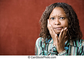Stressed Pretty African-American Woman
