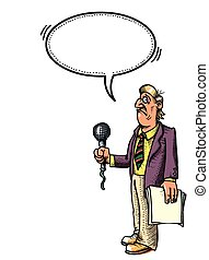 stressed reporter-100 Cartoon image - Cartoon image of...